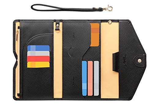 Zoppen Passport Holder Travel Wallet (Ver.5) for Women Rfid Blocking Multi-purpose Passport Cover Document Organizer Strap, Black