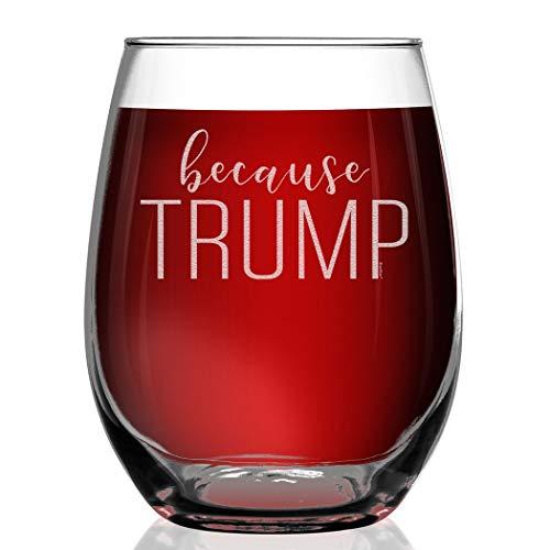 Shop4Ever Because Trump Engraved Stemless Wine Glass Team Biden Harris We Did It Glass