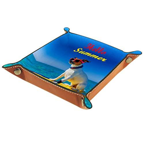 Caja de almacenamiento pequeña, bandeja de valet para hombre,Hola perro de verano surfeando en el mar ,Organizador de cuero para llaves de caja de monedas