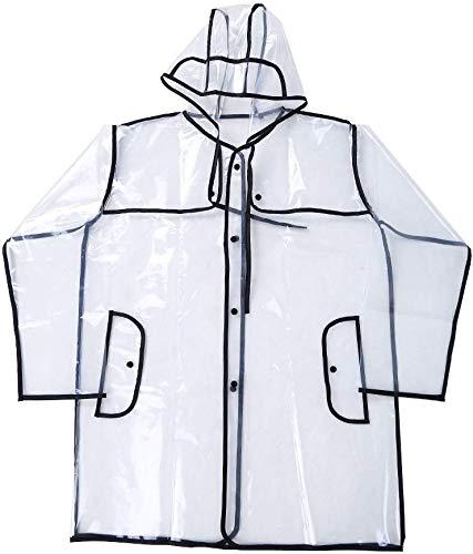 Victory-eu Regenjas Transparant Helder PVC Regenjas Zomer Regenjas Mode Regenjas Waterdichte Jas Poncho Gratis Grootte, Perfect voor Wandelen Camping