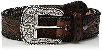 Ariat Unisex-Adult's Floral Inlay Edge Laced Belt, black/brown, 38
