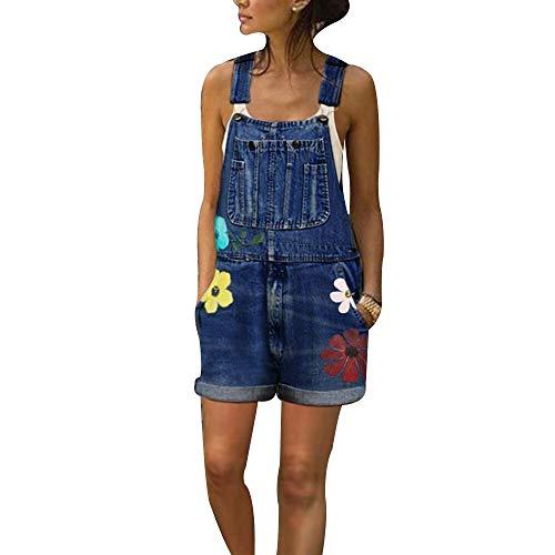 Shujin Mono vaquero corto para mujer, estilo vaquero, vintage, holgado, con estampado de flores azul oscuro...