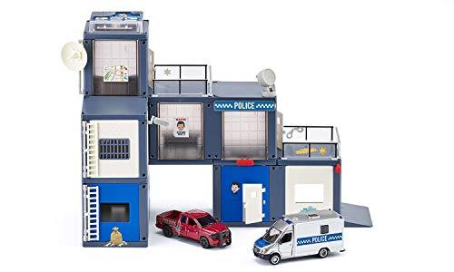 siku 5510, Polizeistation, Kunststoff, Multicolor, Light & Sound, Inkl. 2 Fahrzeugen und Zubehör, Vielseitig aufbaubar, Viele Funktionen