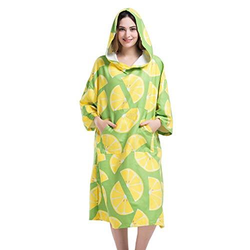 QiHaoHeji Capucha, toalla de secado rápido, albornoz de playa, taquilla de playa, traje de neopreno cálido, absorción de agua y secado rápido (color: verde, tamaño: talla única)