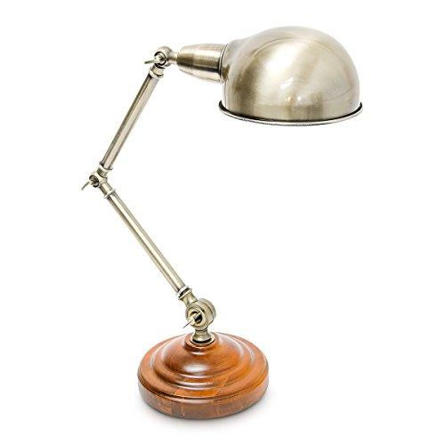 Relaxdays Tischlampe Industrial-Design höhenverstellbar Holz Messing 10018500