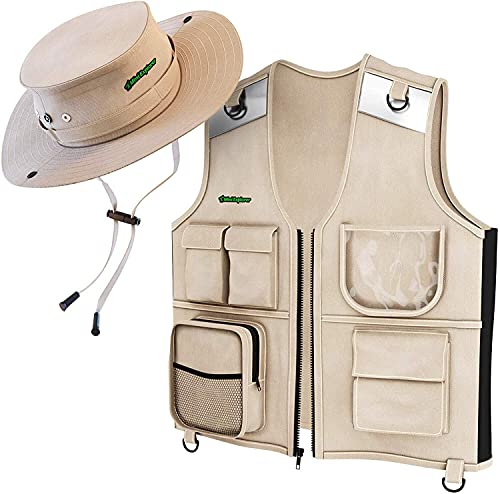 Kids Explorer Vest and Hat Costume - Backyard Safari Cargo Vest Kids Outdoor Activity - Gifts for young kids, boys and girls ages 5 - 8