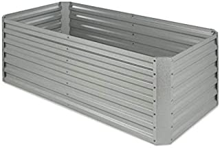 Blumfeldt High Grow Straight Raised Bed • Garden Bed • Flowers, Herbs and Vegetables • Expandable • 250 Gallons • Steel • Weather-Resistant • Snail Protection • Galvanized • Silver