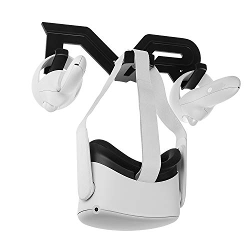 NEWZEROL Headsethalter für Wandmontage und Controller Halter Kompatibel für Oculus Quest 2 /Quest/Rift S/Oculus Go/Ventilindex/HTC Vive Headset und Controllerhalterung VR-Zubehör - Schwarz