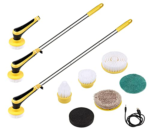 Electric Spin Scrubber Cordless Power Brush Floor Scrubber with 2 Adjustable Arm 6 Replaceable Bathroom Scrubber Cleaning Brush Heads Two Roating Speed for Bathroom Kitchen Floor Tile