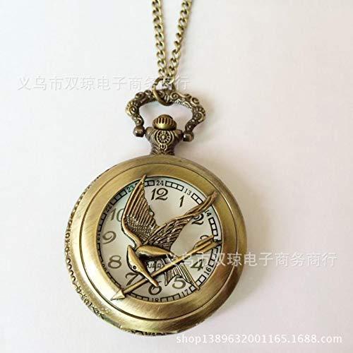 Grande montre de poche Hunger Games avec motif geai moqueur - Bronze creux - Antique