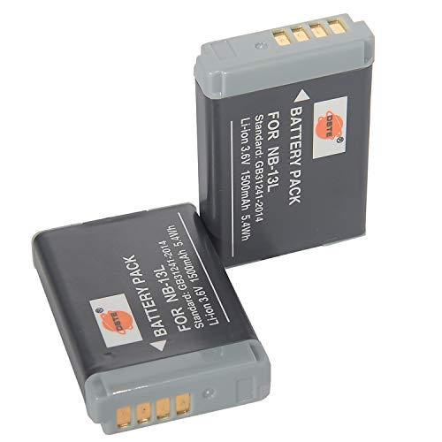 DSTE NB-13L - Batería de repuesto para Canon PowerShot SX620,SX720,SX730,SX740,G1 X Mark III, G5 X, G5 X Mark II, G7 X Mark III, G9 X, G9 X Mark II (2 unidades)