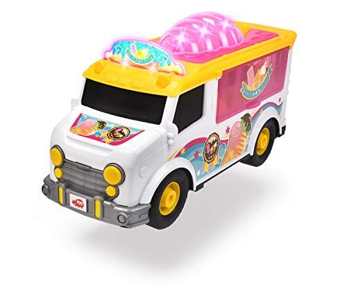 Dickie Toys 203306015 Ice Cream Van, Eiswagen, Hecktür & Seitenklappe zum Öffnen, detailreiche Innenausstattung, Spielzeugauto mit Licht & Sound, inkl. Batterien, 30 cm, weiß/gelb/pink