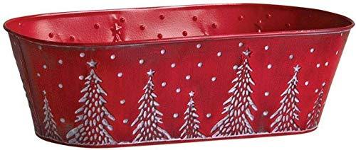 AUBRY GASPARD Corbeille en métal Rouge sapins de Noël 35 cm
