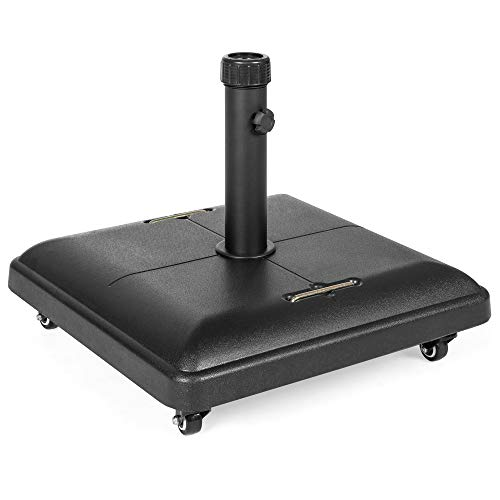 Best Choice Products 81-Pound Heavy Duty Outdoor Patio Square Concrete Rolling Weatherproof Umbrella Base Stand w/Locking Wheels, Handles, Black