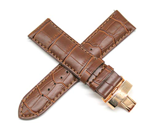 Lucien Piccard 24MM Alligator Grain Genuine Leather Watch Strap 8 Inches Brown Rose Gold Clasp Fits Pegasus