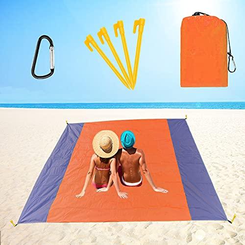 Alfombras de Playa 210 x 200 cm Manta de Picnic Impermeable con 4 Estaca Fijo, Portátil y Ligero Alfombras de Picnic para la Playa Acampar Picnic y Otra Actividad al Aire Libre