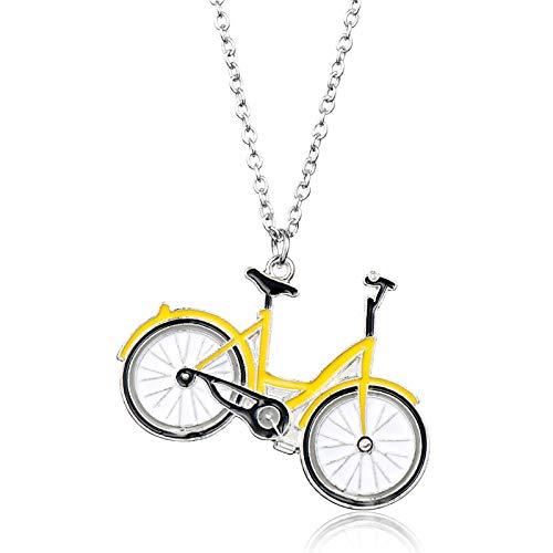 Modisch Damas Schmuck Collier-Halskette Bjorn Niedlich Gelb Emaille Klein Gelb Auto Fahrrad Anhänger Halskette Herren Damen Schmuck