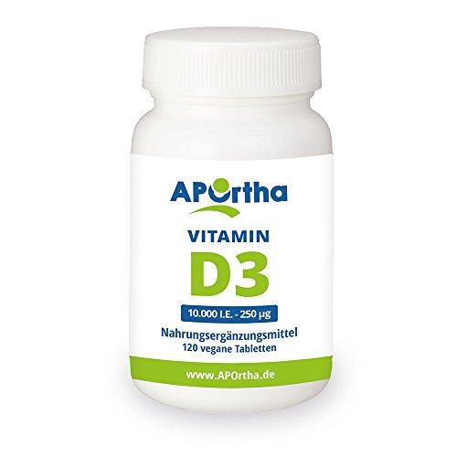APOrtha Vitamin D3-10.000 IE | 120 vegane Tabletten | Hochdosiert - 10 Tagesdosis (nur eine Tablette / 10 Tage - entspricht 1.000 I.E pro Tag)