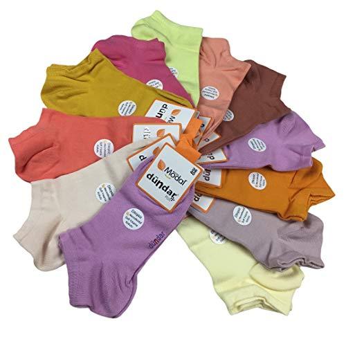 Dündar 12 Paar Modal Kurzsocken, Sneaker-Socken, Füße, nahtlose kurze Socken, wunderbar weich, hautfreundlich, atmungsaktiv, Farbe:Mehrfarbig (Modell 1), Größe:36-40