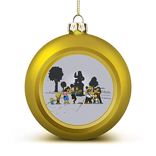 WESD Yellow Fever The Simpsons Walking Dead Anti-Drop Christmas Ball Ornaments, Plastic Ornaments Christmas Balls, Various Holiday Party Decorations