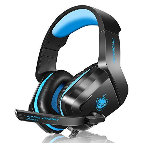 PHOINIKAS H1 Gaming Headset for PS4, Xbox One, PC, Laptop, Nintendo Switch with Bass Surround, Xbox One Headset with Noise-Cancelling Mic, Over Ear Headphones with LED Light, Gift for Kids - Blue