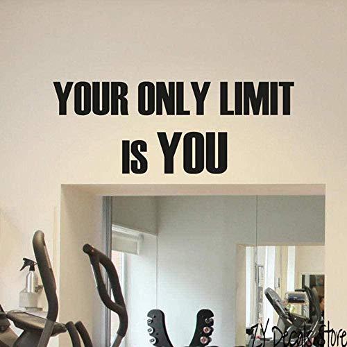 Muurtattoo wandklok La Unieke Limite is uw fitness poster motivationeel voor de kunst 42 x 108 cm