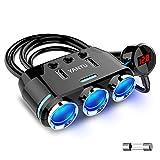 YANTU シガーソケット3連 ワイヤレス 急速充電器USBポート2連 独立スイッチ搭載 電圧計 スマートIC認識サポート 最大電流3.1A 12/24V車対応 カー用品 bluetooth トランスミッター