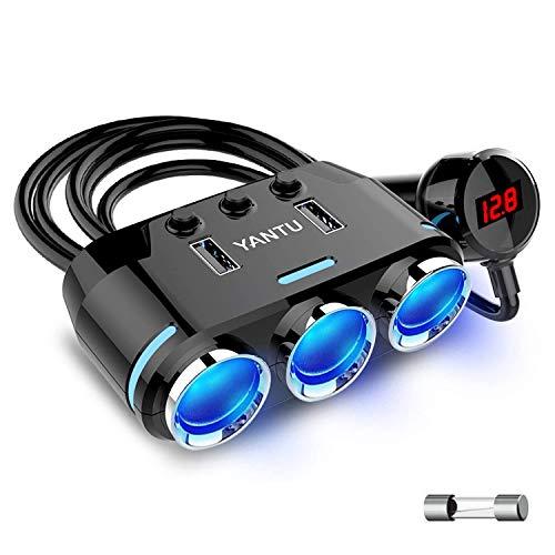 急速充電QC3.0 シガーソケット シガーライター分配器 YANTU3連 ソケット 2USBポート付き カーチャージャー 車載充電器 12/24V車対応 独立スイッチ搭載 LED付 オート電圧測定 ヒューズ交換可能 (ブラック)