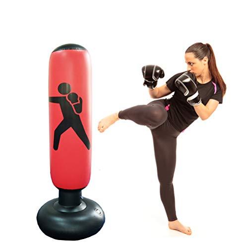 Knowooh Boxsack, Standboxsack Aufblasbare Boxsäule für Kinder und Erwachsene ab 6 Jahren zum Üben von Karate, Taekwondo, MMA(rot)