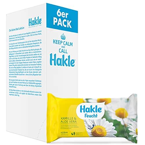 Hakle Feucht Kamille und Aloe Vera im 6er-Pack (6 x 42 Blatt), pflegendes feuchtes Toilettenpapier, hautverträgliche feuchte Tücher, schnell wasserlösliche Feuchttücher