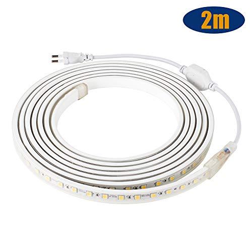 Kefflum LED Streifen LED Stripes LED Lichtband IP65 5050 LED Band 230V 60 LEDs/M 2M Warmweiß für von Haus, Küche, Garten [Energieklasse A+++]