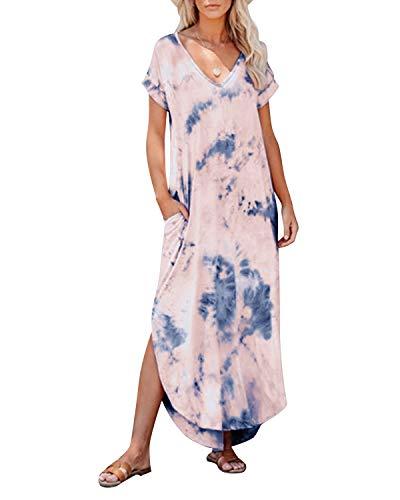 KIDSFORM Damska sukienka maxi kwiatowa z boku rozdzielona na co dzień luźna kieszenie sukienka z krótkim rękawem lato plaża koszulka sukienka