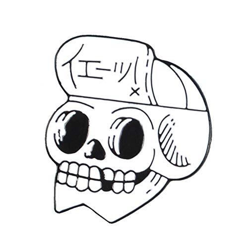 PCBDFQ Broche De Skull Mochila Guante Jeans Use Broche Esqueleto Bufanda Punk Collar Sombrero Bolsa de Flores Chaquetas de Cuero Broche