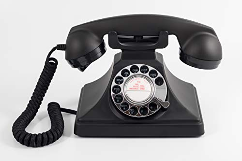 GPO 200 Teléfono Vintage clásico - Disco Giratorio, Cable de Tela y Timbre Tradicional auténtico - Negro