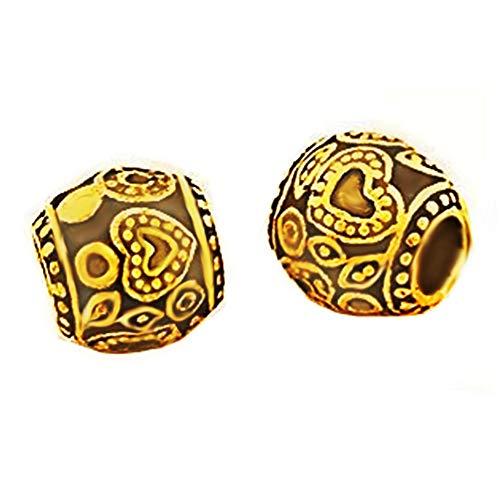 Andante-Stones 14K Gold Bead in vatvorm met hart gravure - element bal voor European Beads + organza zakje