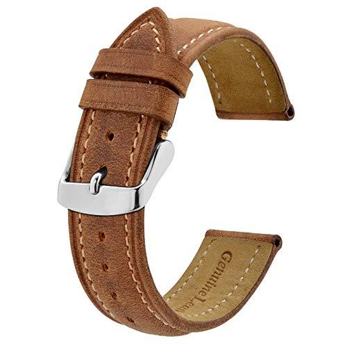 BISONSTRAP Correa de Reloj 18mm, Correa Piel de Cuero Vintage, Marrón Claro/Hilo Beige
