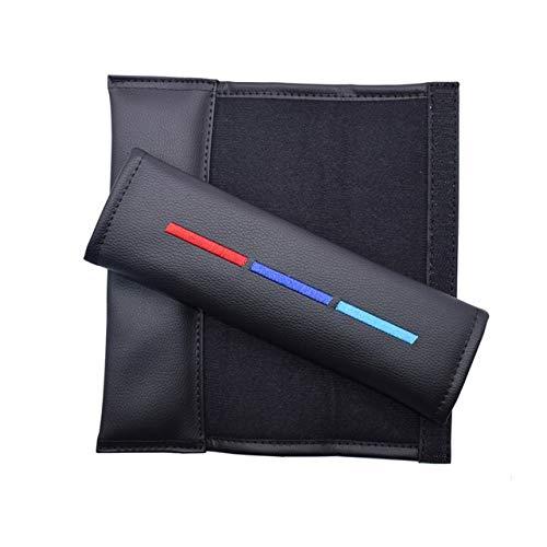 For BMW M Color Driver Car Seatbelt Shoulder Pad Comfortable Driving Seat Belt Vehicle Shoulder Pad Cover Cushion Harness Pad (Color Name : Black)