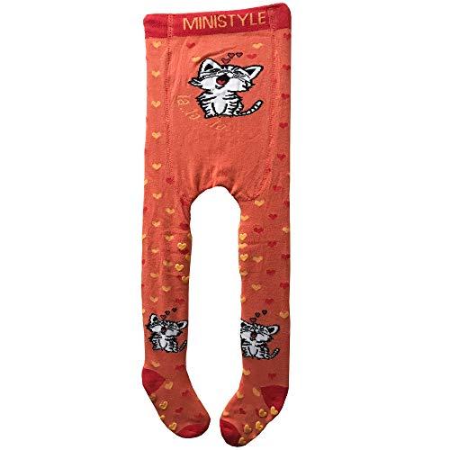CISCOO - ABS Kinderstrumpfhose Krabbelstrumpfhosen - Baby Krabbelhose mit niedlichen Motiven - Baumwolle (86/92 6-24 Monate, Orange-Cat)