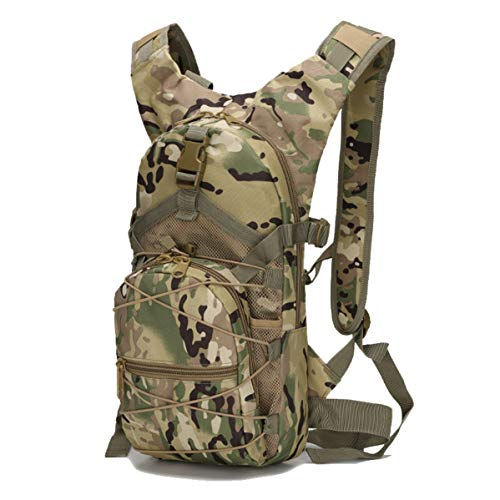 WANDOUSEN Military Camo Backpack Outdoor Traval Tactical 15L Waterproof High Density Oxford MOLLE System Wearable Breathable Climbing Trekking Hiking Sports Backpack Bag CP Camouflage