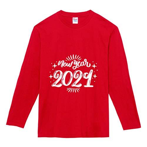 【】選べる6色 2021 新年 丑年 おもしろ tシャツ Tシャツ メンズ レディース キッズ 長袖 子供 大人おしゃれ t shirts tsyatu オリジナル お正月 年賀 年末 パーティー ギフトプレゼント プリントTシャツlt102-s02 (レ