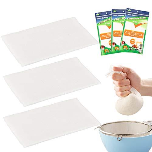 CHALA Muselina Cocina 3PCS Tela de Queso Tela Filtrante para Leche 100% Gasa de Algodón Natural Filtro de Alimentos Tela para Mermelada de Cocina Mantequilla Colador de Queso para Mantequilla, Leche