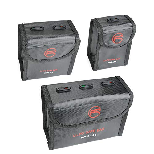 CUEYU Lipo Batterie Safe Bag Feuerfest Explosionsgeschützte für DJI Mavic Air 2 Batterie, Lipo Battery Bag Feuerfeste Akku Tasche mit Ladezustandsanzeige für DJI Mavic Air 2 (Für 1 Batterien, Schwarz)