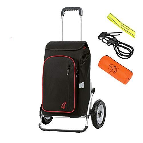Andersen Einkaufstrolley Royal XXL und 56 Liter Einkaufstasche Toto schwarz mit Kühlfach, Regencape, Reflektor, Spanngurt