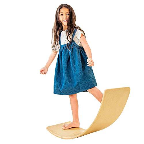 Wooden Balance Wobble Board with Felt, 36 Inch Kids Rocker Board Waldorf Toy Yoga Board Curvy Board Natural Wood
