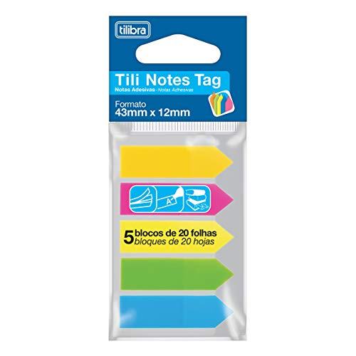 Marcador de Páginas 43mmx12mm, Tilibra, Tili Notes Tag, 100 Folhas, 5 Cores