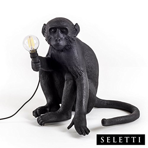 Seletti Monkey Lamp zittend zwart, hars, 45 x 39 x 36 cm