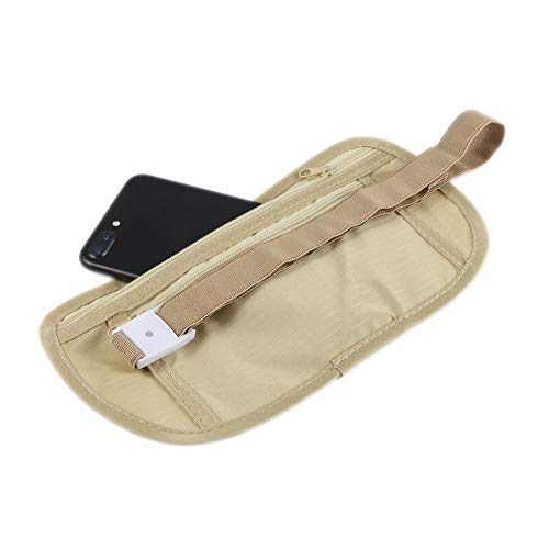 Jogging Waist Bag - Universal Slim Jogging Waist Bag Pochette de Voyage légère Compact Security Money Bag Outdoor Running Waist Belt - Beige