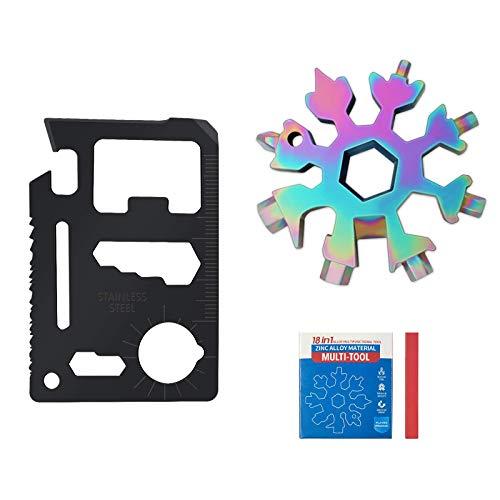 18-in-1 Schneeflocke Multi-Tool Tragbares Edelstahl-Flaschenöffner-Kombinationswerkzeug für den Außenbereich mit einem,einemTeleskopschlüsselbund, männer geschenke,cool gadgets (Farbe)
