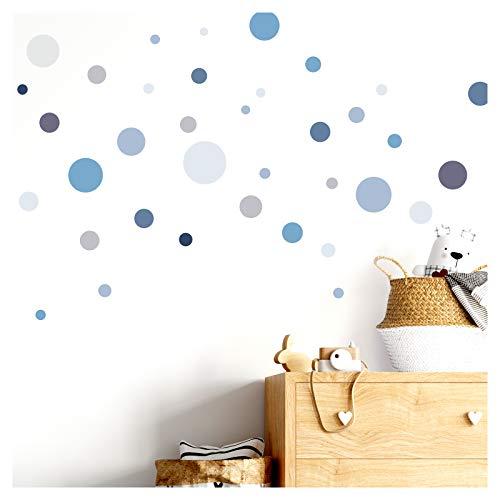 Little Deco DL381 - Adhesivo decorativo para pared (86 puntos, para habitación de los niños, niñas, círculos, chicos, chicos, azules, gris)