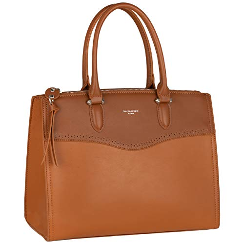 David Jones - Dames Grote Draagtas Handtas - Tote Bag Shopper Large PU Leer - Hengseltas Boodschappentas - Veel Vakken Zakken - Schoudertas Crossbodytas - Mode Elegant Damestas - Cognac Bruin